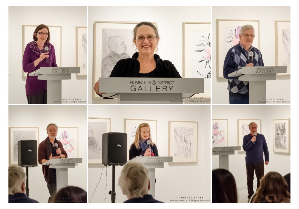 Reading at the Humboldt District Gallery: Barbara Langhorst, Shelley Banks and Bruce Rice; introductions by St. Peter's College art instructors (l&r) Grant McConnell and Clint Hunker; welcome by gallery representative (c).