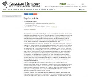 Canadian Literature reviews Exile on a Grid Road.